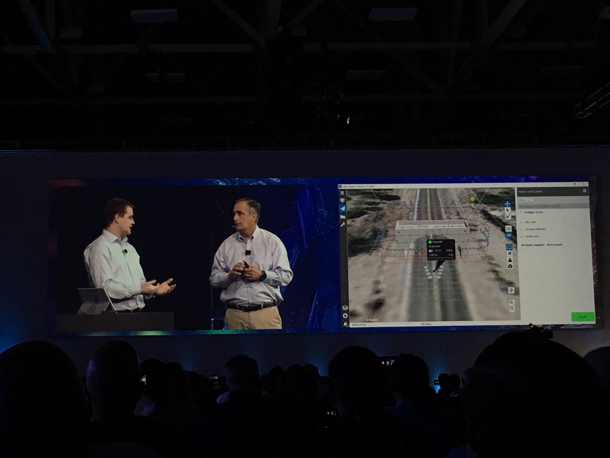 Intel CEO, Brian Krzanich (right) and Mission Control interface to plan Intel Falcon 8+ flight route and inspection image capturing